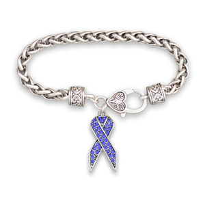 Blue Ribbon Braided Clasp Crystal Bracelet