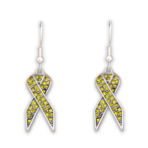 Yellow Gold Ribbon Fish Hook Crystal Earrings