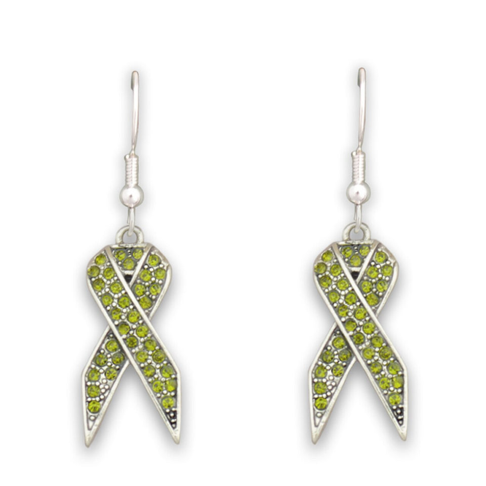 Green Ribbon Fish Hook Crystal Earrings
