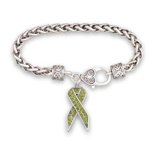 Green Ribbon Braided Clasp Crystal Bracelet
