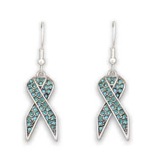 Aqua Ribbon Fish Hook Crystal Earrings