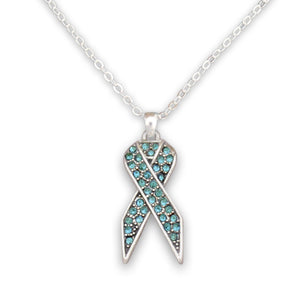 Aqua Ribbon Crystal Charm Necklace