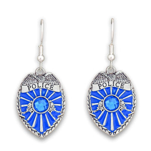 Crystal Police Badge Earrings