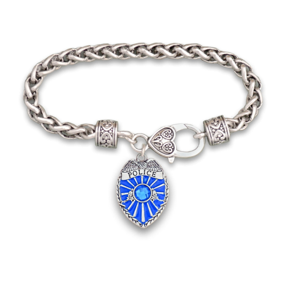 Crystal Police Badge Bracelet