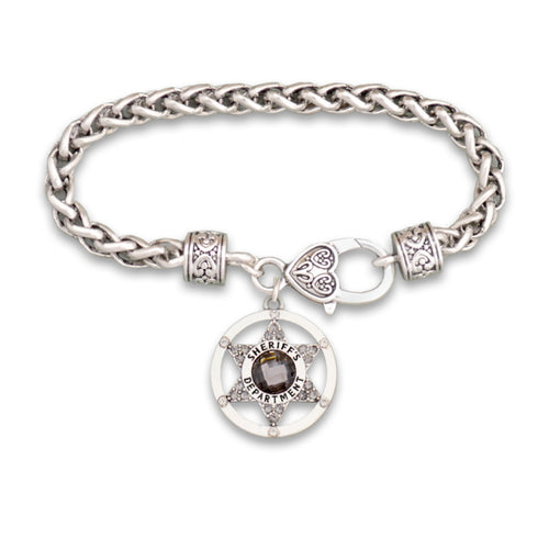 Crystal Sheriff Badge Bracelet