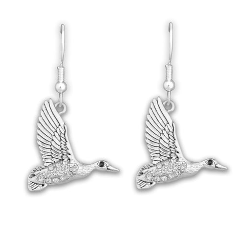 Duck Crystal Charm Earrings