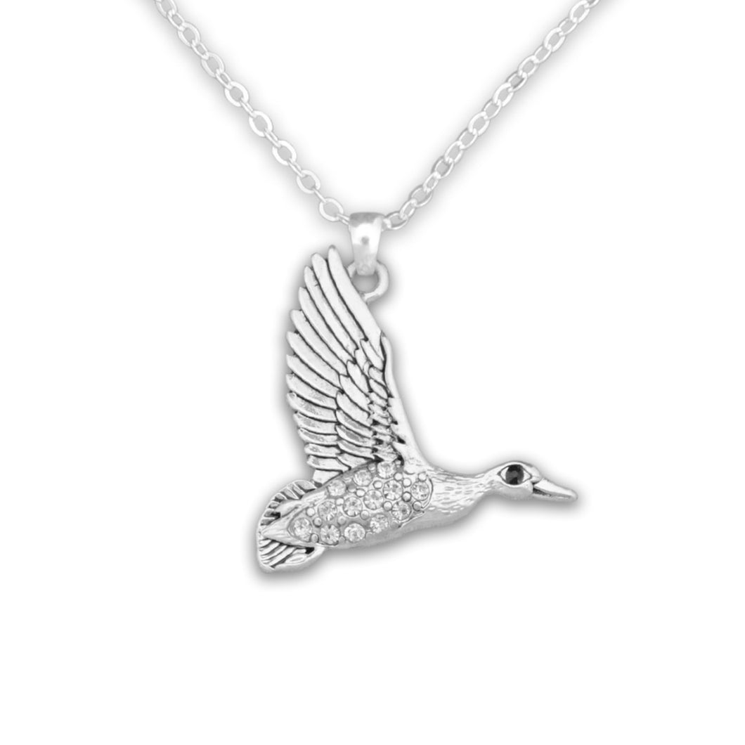 Duck Crystal Charm Necklace