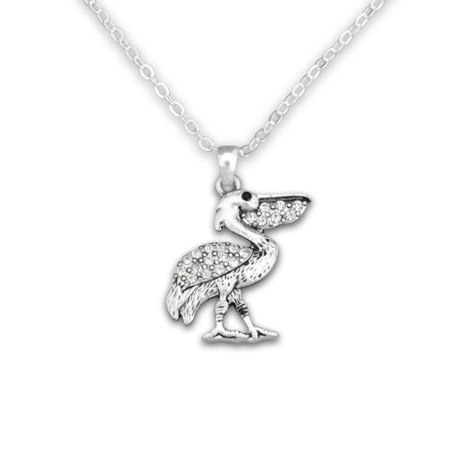 Pelican Crystal Charm Necklace
