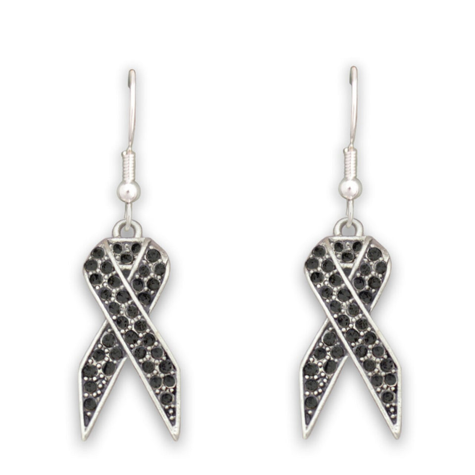 Black Ribbon Fish Hook Crystal Earrings