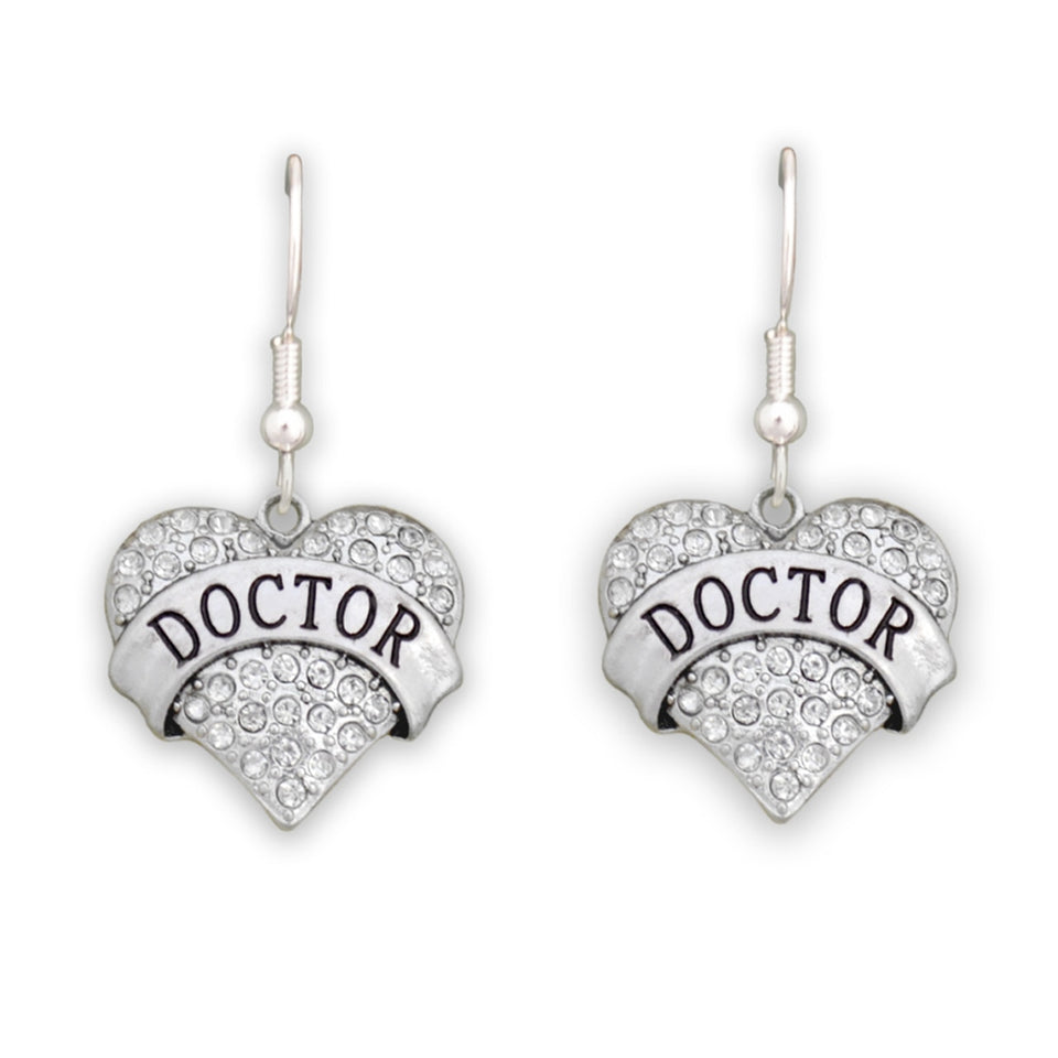 Crystal Doctor Heart Earrings
