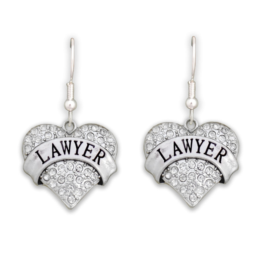 Crystal Lawyer Heart Earrings