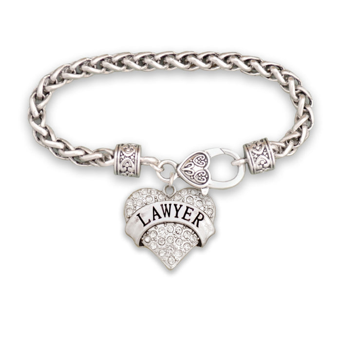 Crystal Lawyer Heart Bracelet