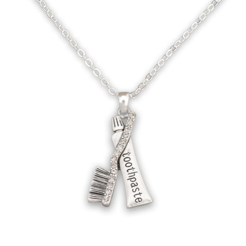 Crystal Toothpaste and Brush Dentist Necklace
