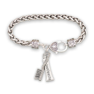 Crystal Toothpaste and Brush Dentist Bracelet