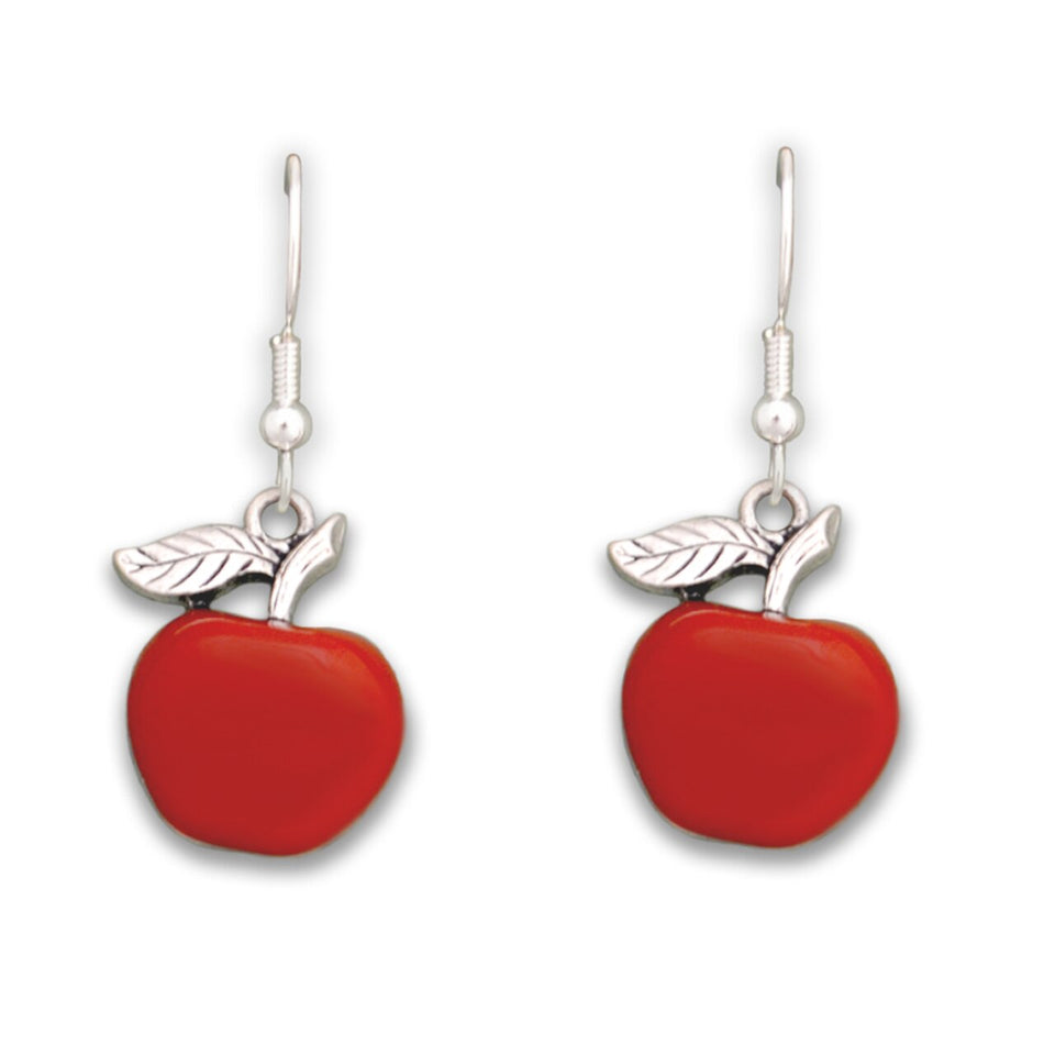 Enamel Teacher Apple Earrings