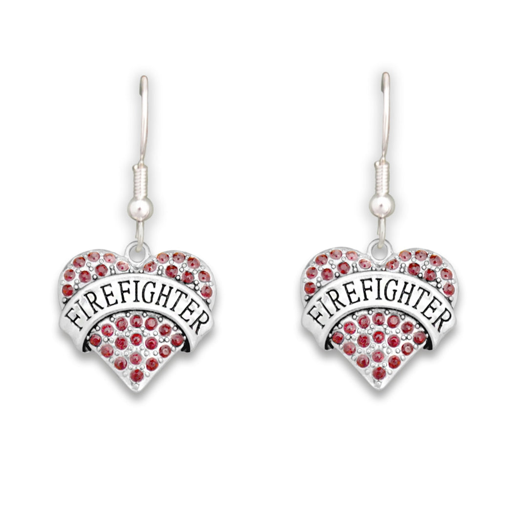 Crystal Firefighter Heart Earrings