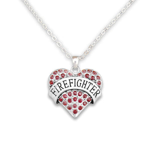 Crystal Firefighter Heart Necklace