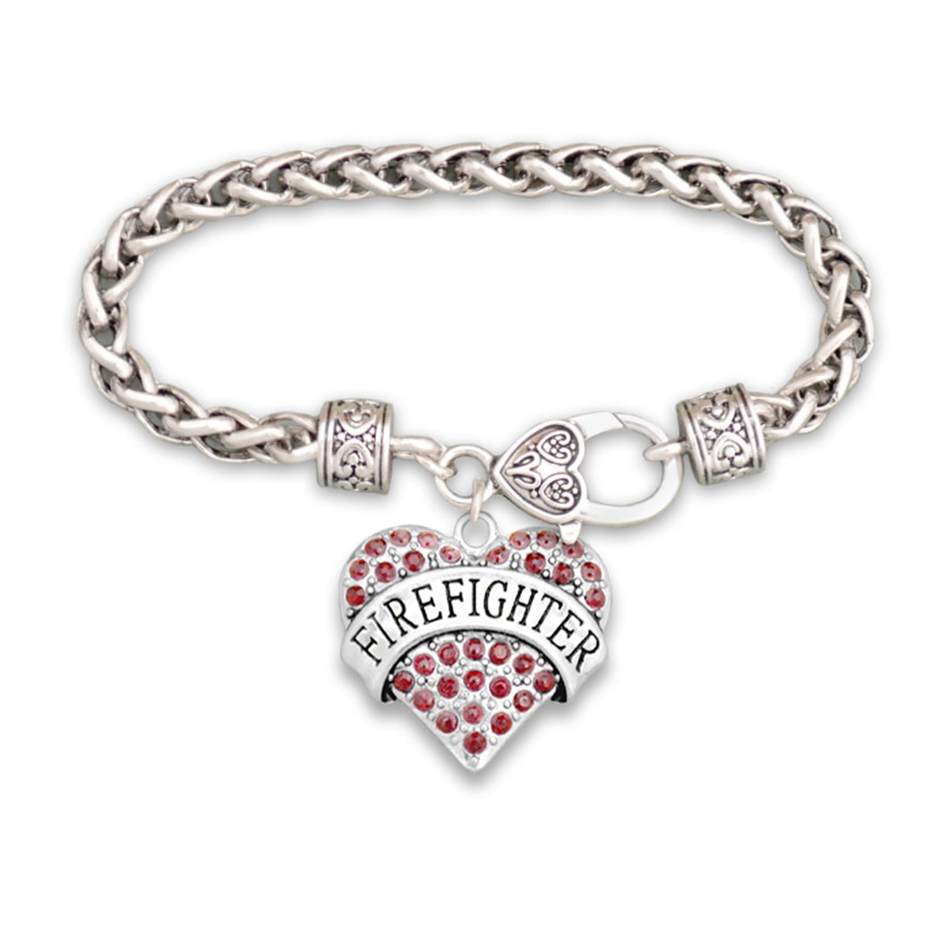 Crystal Firefighter Heart Bracelet