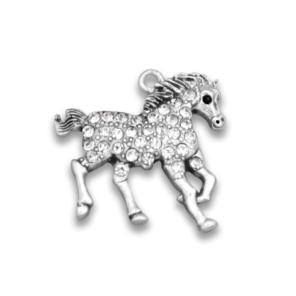 Crystal Running Horse Western Charm for Bracelets & Necklaces