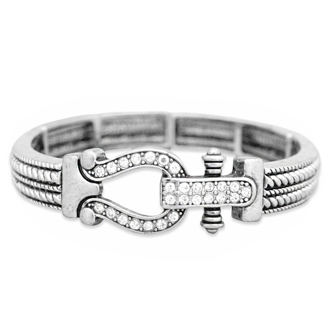 Arm Candy Collection Stretch Bangle Bracelet with Lucky Horse Shoe Crystal Charm
