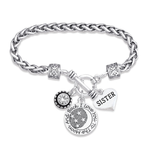 Love You To The Moon Collection Sister Braided Clasp Bracelet