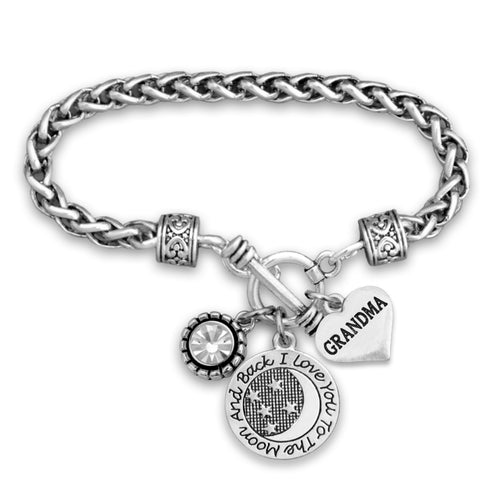 Love You To The Moon Grandma Braided Clasp Bracelet