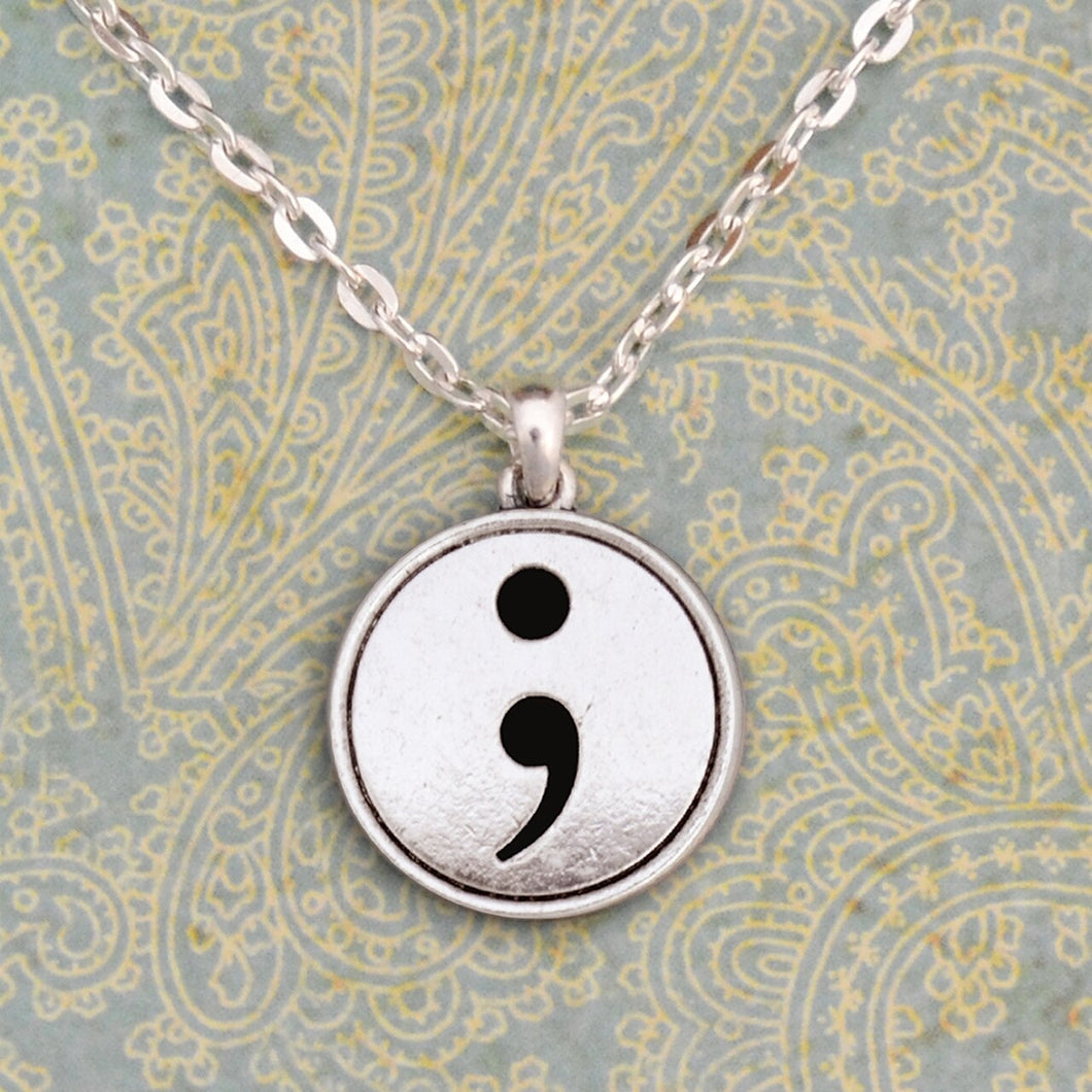 Semicolon Crystal Charm Necklace