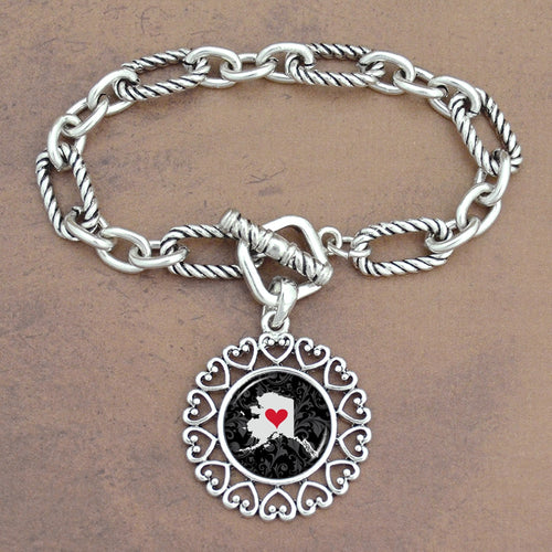Twisted Chain Link Toggle Clasp Heartland Bracelet with Alaska State Charm