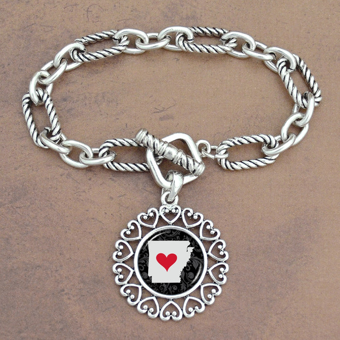 Twisted Chain Link Toggle Clasp Heartland Bracelet with Arkansas State Charm