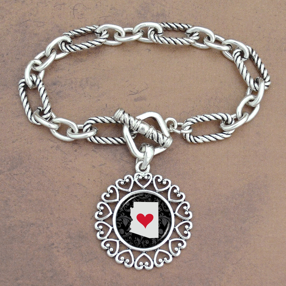Twisted Chain Link Toggle Clasp Heartland Bracelet with Arizona State Charm