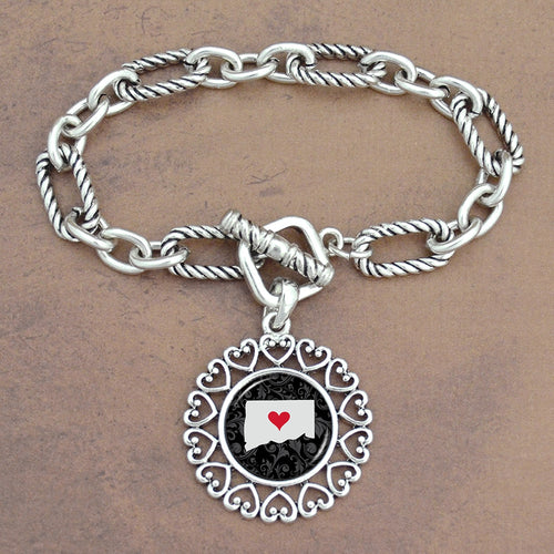 Twisted Chain Link Toggle Clasp Heartland Bracelet with Connecticut Charm