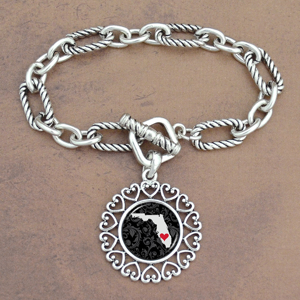 Twisted Chain Link Toggle Clasp Heartland Bracelet with Florida State Charm