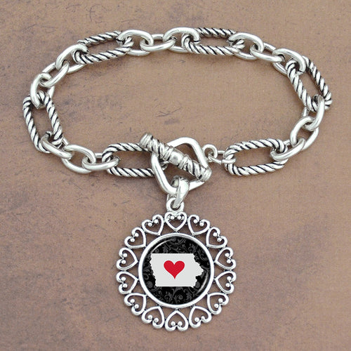 Twisted Chain Link Toggle Clasp Heartland Bracelet with Iowa State Charm