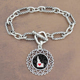 Twisted Chain Link Toggle Clasp Heartland Bracelet with Idaho State Charm