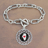 Twisted Chain Link Toggle Clasp Heartland Bracelet with Illinois State Charm
