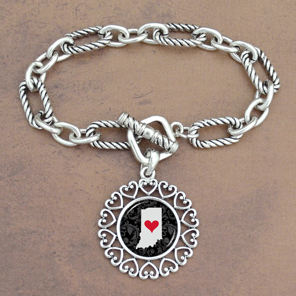 Twisted Chain Link Toggle Clasp Heartland Bracelet with Indiana State Charm