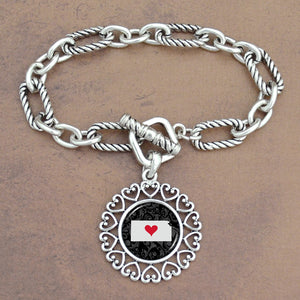 Twisted Chain Link Toggle Clasp Heartland Bracelet with Kansas State Charm