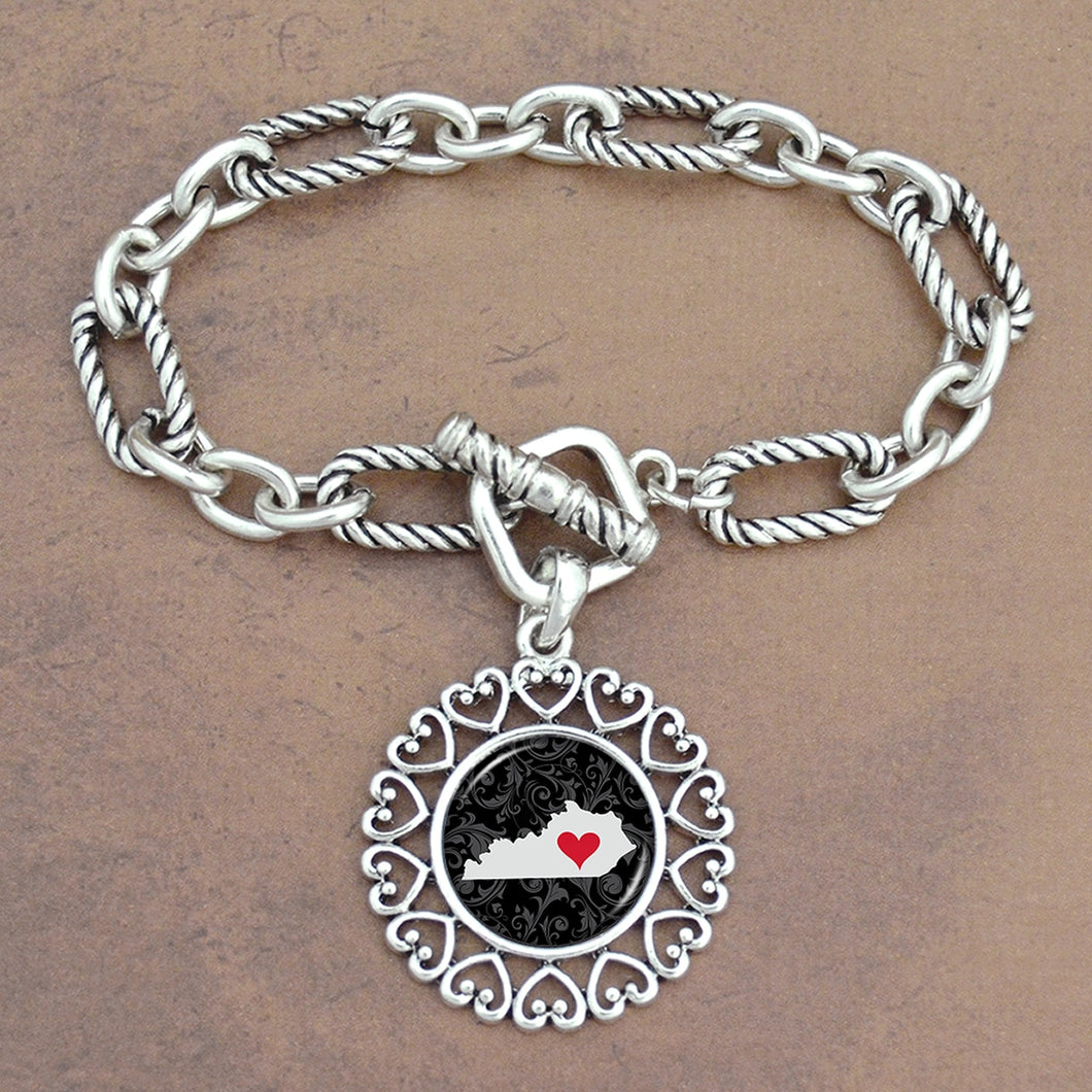 Twisted Chain Link Toggle Clasp Heartland Bracelet with Kentucky State Charm
