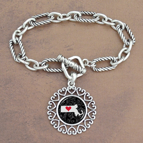 Twisted Chain Link Toggle Clasp Heartland Bracelet with Massachusetts State Charm