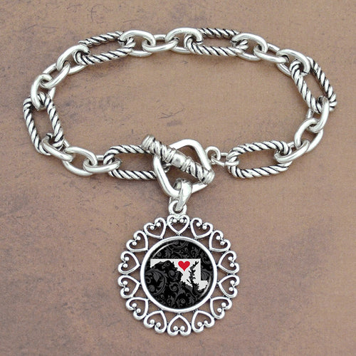 Twisted Chain Link Toggle Clasp Heartland Bracelet with Maryland State Charm