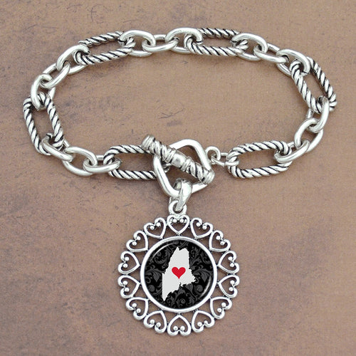 Twisted Chain Link Toggle Clasp Heartland Bracelet with Maine State Charm