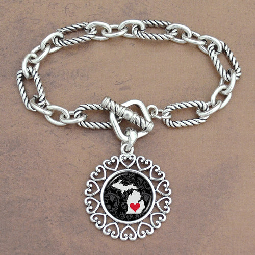 Twisted Chain Link Toggle Clasp Heartland Bracelet with Michigan State Charm