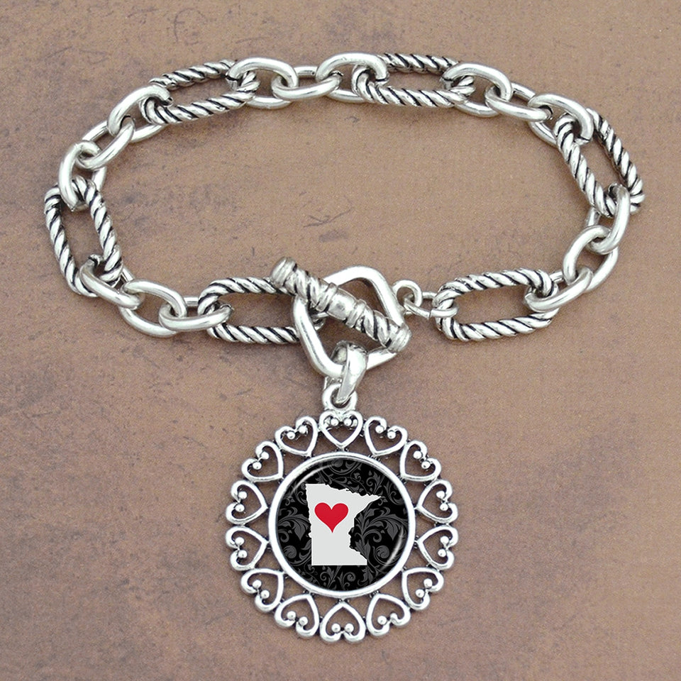 Twisted Chain Link Toggle Clasp Heartland Bracelet with Minnesota State Charm