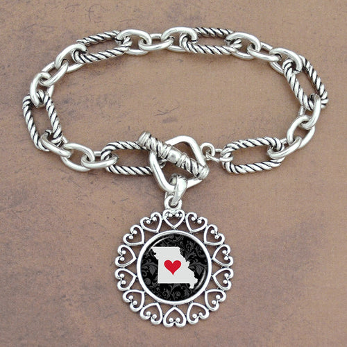 Twisted Chain Link Toggle Clasp Heartland Bracelet with Missouri State Charm