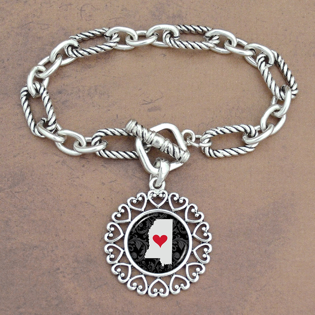 Twisted Chain Link Toggle Clasp Heartland Bracelet with Mississippi State Charm