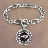 Twisted Chain Link Toggle Clasp Heartland Bracelet with North Carolina State Charm
