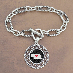 Twisted Chain Link Toggle Clasp Heartland Bracelet with Nebraska State Charm