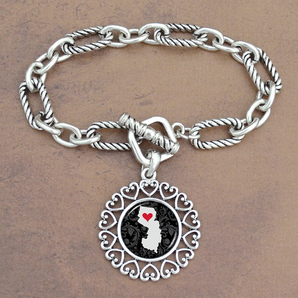 Twisted Chain Link Toggle Clasp Heartland Bracelet with New Jersey State Charm