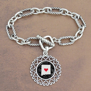Twisted Chain Link Toggle Clasp Heartland Bracelet with New Mexico State Charm