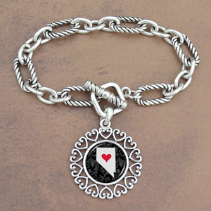 Twisted Chain Link Toggle Clasp Heartland Bracelet with Nevada State Charm